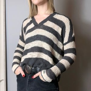 Open Knit Hooded Striped Sweater